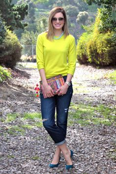 Bright colors and embellished clutch for Spring