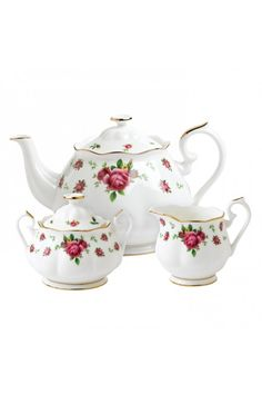 NEW COUNTRY ROSES WHITE 3-PIECE TEA SET