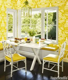 Chinoiserie Chinoiserie Chic: The Chinoiserie Breakfast Room Clarence House The Vase wallpaper in or Dining Area, Dining Table, Dining Rooms, Clarence House, Chinoiserie Chic, Chinoiserie Wallpaper, Yellow Walls, Yellow Chairs, Limoncello