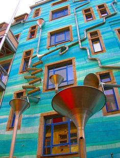 Dresden, Germany-When it rains, this elaborate funnel system made in the shape of musical instruments literally makes music from the falling water