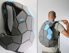 """Davidi Galid's """"Meiosis."""" The backpack is the development of a new way of assembly that utilizes the physical attributes of the materials from which it is made. It is constructed of a three-dimensional polygon system, which is the result of released tensions and convergence of the material. While the backpack parts are in that state, the bag gets its exterior shape, and remains so due to geometric locks as a result of the shrink."""