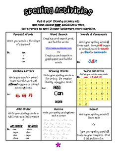 Spelling homework choice board.  Students can choose which homework assignments they would like to complete.  To save paper, I laminate this and ha...