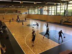 Players of the Brose Bamberg playing in the new gym with sports #parquet Dalla Riva Sportfloors