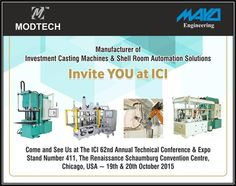 Modtech Machines & Mayo Engineering invite YOU at the ICI 62nd Annual Technical Conference & Expo at Chicago on 19th & 20th Oct 2015
