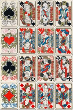 """B. P. Grimaud: """"Jeu Moyen Age:"""" Unusual playing card designs by Gaston Quénioux in the decorative Art Nouveau style, evoking the aesthetic conventions and craftsmanship of the middle ages."""