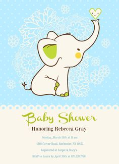 Adorable blue baby elephant! | Baby Shower Invitation | Customizable with your own details | CatPrint Design #356
