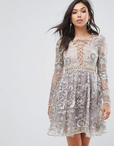 9a935a3aad True Decadence All Over Embroidered Mini Skater Dress With Lace Up Plunge  Front at asos.com