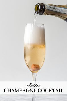 This classic Champagne cocktail is an elegant way to ring in the New Year! The spiced bitters, touch of sweetness and fragrant lemon zest elevate your standard glass of bubbly and make the night extra special. Champagne Cocktail, Sparkling Wine, Drinks Alcohol Recipes, Alcoholic Drinks, Cocktails And Canapes, How To Memorize Things, Bubbles, Spices, Cheers