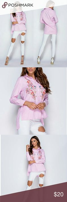 Floral Embroidered Long Sleeve Shirt Pink striped floral embroidered hi low long sleeve shirt. 100% Polyester Parisian Tops Button Down Shirts