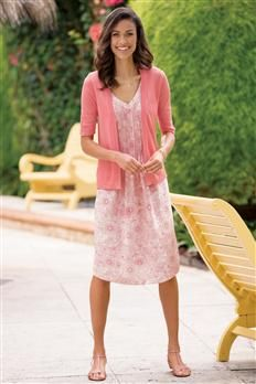 Pointelle Trim Shrug & Pintucked V-Neck Linen Dress | Chadwicks