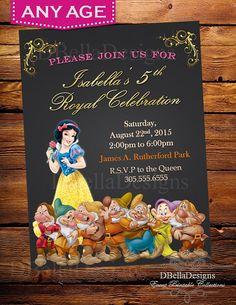 Princess Snow White Birthday Invitation Snow White Invitation