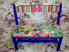 Handpainted and decoupaged bench seat for a special little girl named Ruby
