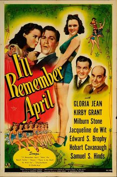 """I'll Remember April 1945 Authentic 27"""" x 41"""" Original Movie Poster Kirby Grant Crime U.S. One Sheet"""