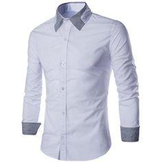 Special Shirt Collar Stripes Spliced Long Sleeves Men's Slimming Shirt