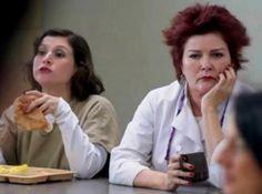 "Galina ""Red"" Reznikov / Kate Mulgrew plotting and Lorna Morello /Yael Stone stuffing her face .."