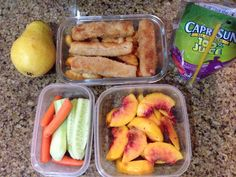 09/09 Pasta and fish sticks, nectarine, cucumbers and carrots, pear and juice.