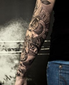 3D Pocket watch and butterfly full sleeve - 100 Awesome Watch Tattoo Designs