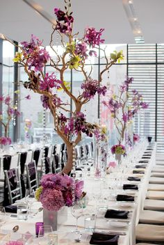 manzanita reception wedding flowers, manzanita wedding decor, wedding flower centerpiece, wedding flower arrangement, add pic source on comment and we will update it. can create this beautiful wedding flower look. Manzanita Wedding, Manzanita Tree Centerpieces, Elegant Centerpieces, Wedding Centerpieces, Purple Centerpiece, Mod Wedding, Purple Wedding, Wedding Table, Wedding Flowers