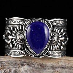 Darryl Becenti Navajo Gem Natural LAPIS Bracelet Sterling Silver - 11 Main