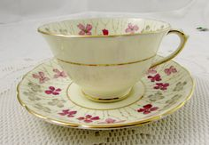 Tuscan Tea Cup and Saucer Plant Pattern with Hand by TheAcreage