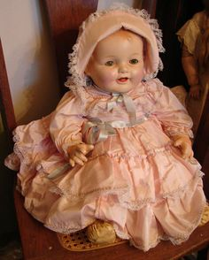 "Large Antique Composition Baby Doll 28"" Unmarked"
