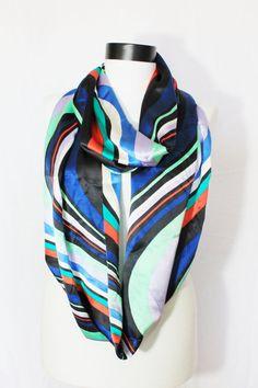 Long Women/'s Premium Matte Satin Pucci Abstract Print Shawl Scarf Hijab Stole