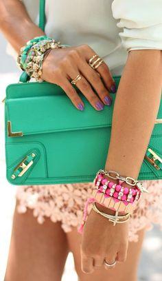Bracelets and green purse.