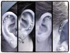 "Triple Forward Cartilage Tragus Helix CZ Studs 5 8"" 16g Stud Earring | eBay"