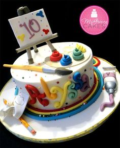 Use a tiny easel and canvas from Michael's but the rest could be edible... fondant brush and tube... The rest buttercream