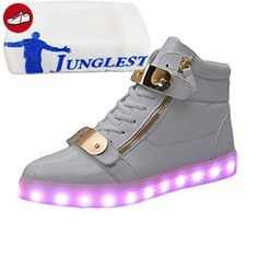 [Present:kleines Handtuch]Silber EU 27, Kinder Sneakers Leuchtet Schuhe mit LED Sportschuhe Athletische JUNGLEST® USB weise m