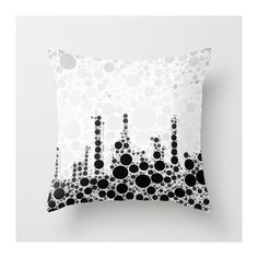 Abstract Black/White Art Throw Pillow for Home/Office Decor by VQ STUDIO™.