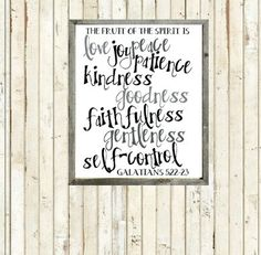 Fruits of the Spirit - Grayscale - Printable - Instant Download