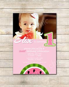 printable watermelon birthday invitation   kids summer party idea, Birthday invitations