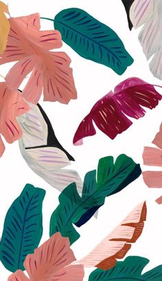 Palm leaves- gauche acrylic painted pattern via Arianna Marinelli Graphic Wallpaper, Iphone Background Wallpaper, Pastel Wallpaper, Aesthetic Iphone Wallpaper, Aesthetic Wallpapers, Phone Backgrounds, Paper Plants, Cute Patterns Wallpaper, Painting Patterns