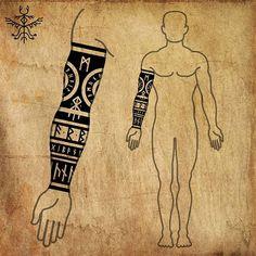 Viking Rune Tattoo, Viking Tattoo Sleeve, Norse Tattoo, Celtic Tattoos, Viking Tattoos, Tribal Tattoos, Armor Tattoo, Warrior Tattoos, Wiccan Tattoos