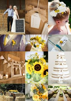 Rustic Country Wedding with Sunflowers, Billy Buttons and Hessian from The Wedding Community