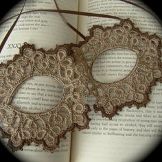 Tatted Lace Mask - Between The Stars - Sepia Edition
