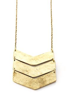 Gold Chevron Pendant Long Necklace * Visit the image link more details. (This is an affiliate link) #Necklaces