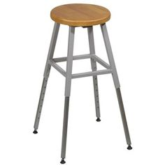 Adjustable Height Lab Stool without Back - Gray