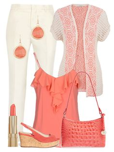 """""""Pretty Coral"""" by ros-fraser Pretty Outfits, Cute Outfits, Work Outfits, Spring Summer Fashion, Spring Outfits, Casual Outfits, Fashion Outfits, Womens Fashion, My Style"""