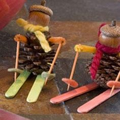 Acorn Craft Ornament | Red Ted Art has these pine cone characters. They made me smile!