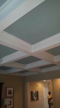 Coffered Ceiling with contrast paint Home Ceiling, Ceiling Ideas, Top Paint Colors, Faux Panels, Residential Interior Design, Interior Decorating, Decorating Ideas, Decor Ideas, Formal Living Rooms