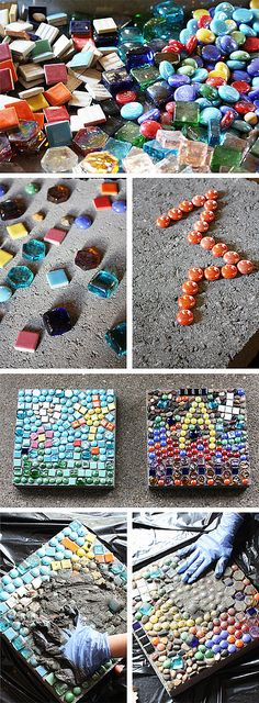 These are cement stepping stones, but how about mosaics in play dough?