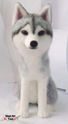 SIBERIAN HUSKY Needle Felted Sculpture OOAK Realistic Dog Wool Animal Wolf   #AllOccasion