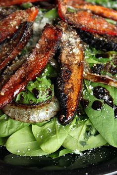 Marinated Portobello Mushroom Spinach Salad