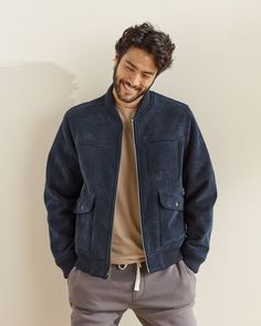 Men's Comfortable Cord Bomber Jacket - Bundle Up Denim Jacket Men Style, Mens Corduroy Jacket, Bomber Jacket Outfit, Blue Bomber Jacket, Men's Jacket, Bomber Jackets, Stylish Men, Men Casual, New Outfits
