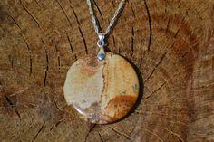 Collier argent et jolie jaspe paysage : Collier par instant-precieux
