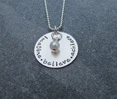 Gift for the Graduate, imagine, believe, achieve necklace, sterling silver, inspiration