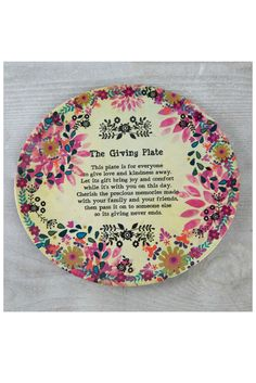Natural Life Giving Plate - Cream/Pink Flowers