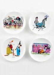 By MIMI'S CIRCUS: Cirkus stel i keramik - 4 x tallerkener